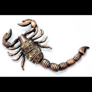 Huge Vintage Scorpion Brooch Moveable Tail Archnid